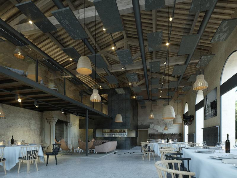 Perspective intérieure du projet de rénovation de la salle de réception du Domaine de Biar à Montpellier